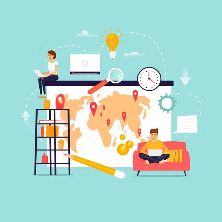 Wolny zawód. Praca zdalna. Praca zespołowa. Domowe biuro. Ilustracja wektorowa Płaska konstrukcja.