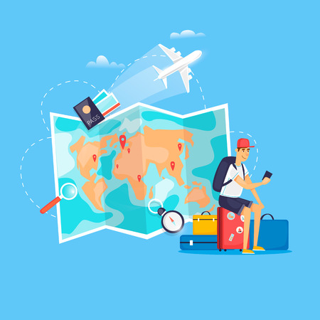 World Travel. Planning summer vacations. Airport. Holiday, journey. Tourism and vacation theme. Flat design vector illustration. Stock Illustratie