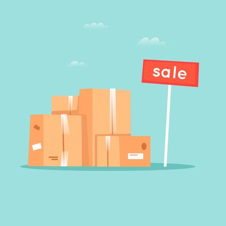 Garage sale, unnecessary things. Flat design vector illustration.