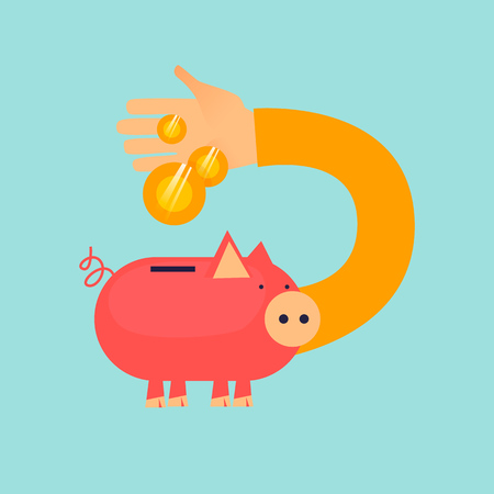 Saving money in piggy bank, pig and coins. Flat design vector illustration.