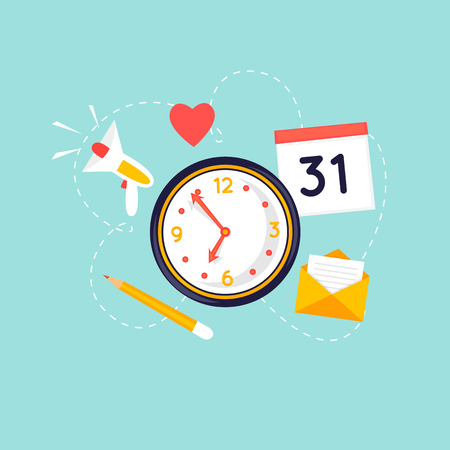 Planning in Company business with clock, calendar and pencil. Flat design vector illustration. Illusztráció