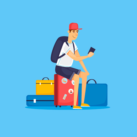 World Travel with man on smartphone with luggage.  Tourism and vacation theme. Flat design vector illustration. Illustration