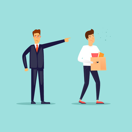 Boss fired an employee. Flat design vector illustration.