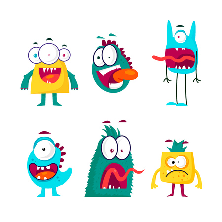 Characters of monsters and alien. Flat design vector illustration.