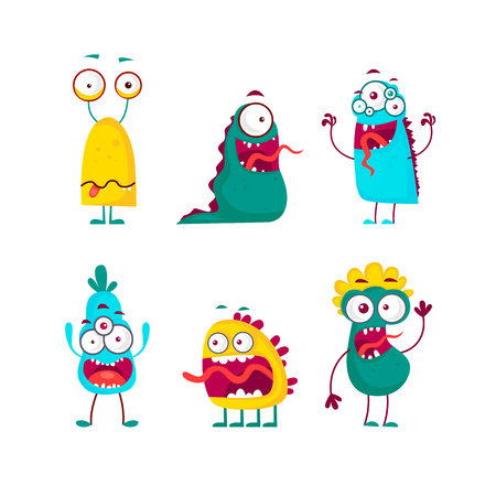 Characters of aliens and monsters . Flat design vector illustration. Illustration