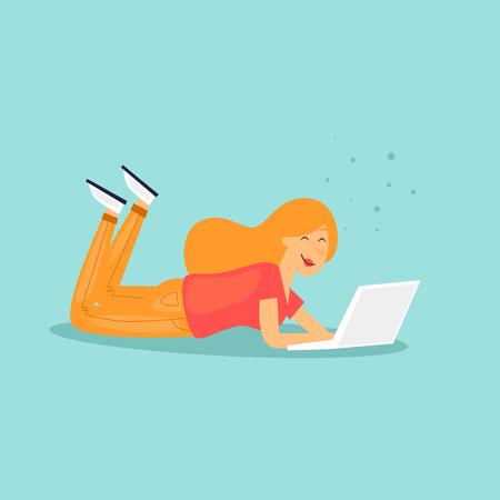 Girl lying with laptop. Flat design vector illustration. Фото со стока - 99054401