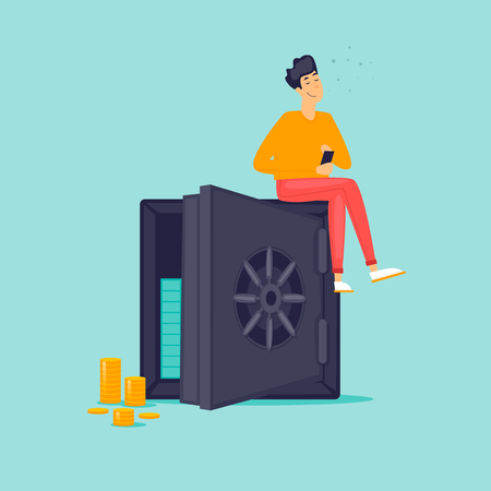 Keeping money in the bank, accumulation. Flat design vector illustration. Иллюстрация