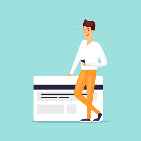 Payment by bank card, online, through the Internet. Flat design vector illustration. Иллюстрация