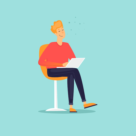 Man is sitting with a laptop. Flat design vector illustration. Illustration