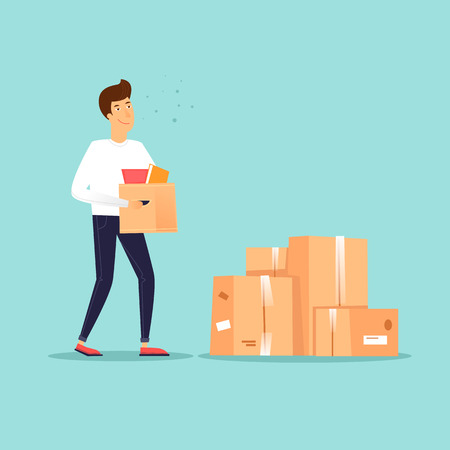 Man carries a box, garage sale. Flat design vector illustration. Illustration