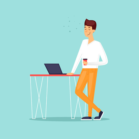 Man with laptop in a cafe, office work. Flat design vector illustration.