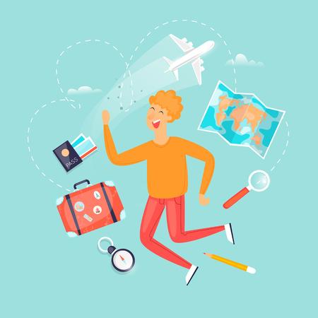 Vacation, travel, adventure, satisfied people. Flat design vector illustration. Illustration