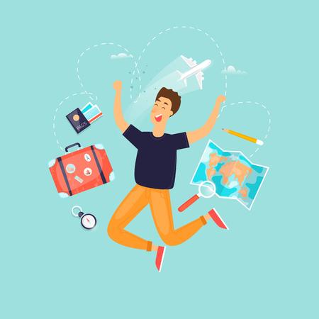 Vacation, travel, adventure, satisfied people. Flat design vector illustration. Foto de archivo - 99468204