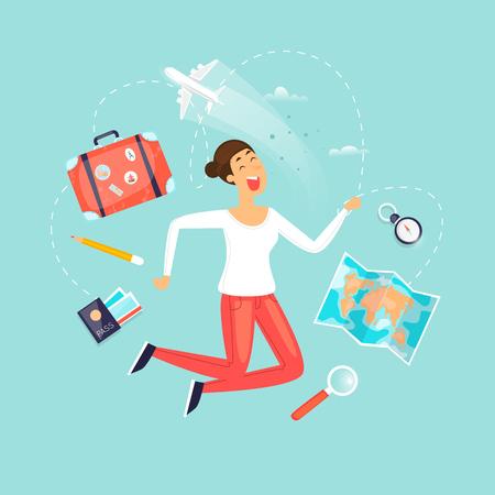 Vacation, travel, adventure, satisfied people. Flat design vector illustration. Foto de archivo - 99468203