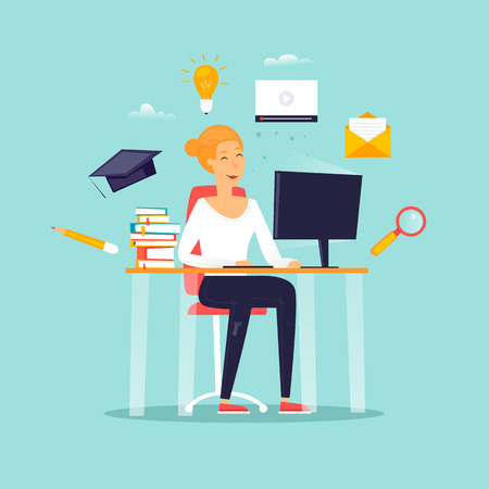 Educación en línea, una niña está sentada frente a una computadora, una estudiante, cursos. Diseño plano ilustración vectorial.