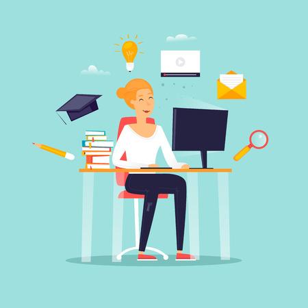 Formazione online, una ragazza è seduta a un computer, uno studente, corsi. Illustrazione vettoriale design piatto