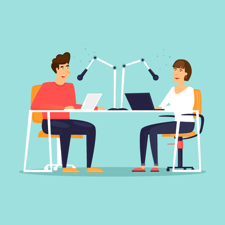 Man and a woman are working on the radio. Flat design vector illustration. Vectores