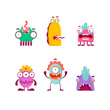 Characters monsters. Flat design vector illustration. Çizim