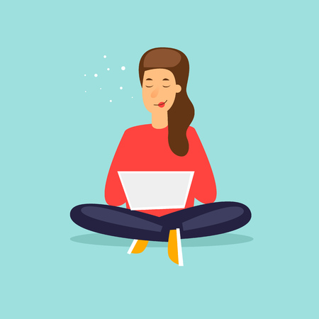 Girl sitting with laptop. Flat design vector illustration. Иллюстрация