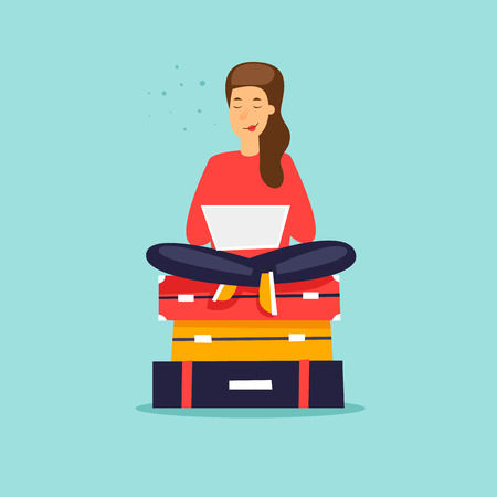 Girl sits on suitcases, time to travel vacation. Çizim