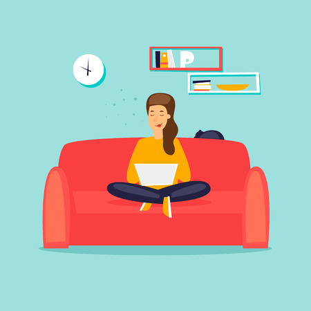 Girl working on the couch with laptop flat design vector illustration.