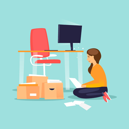 Business girl looking for documents, portfolio in flat design vector illustration.