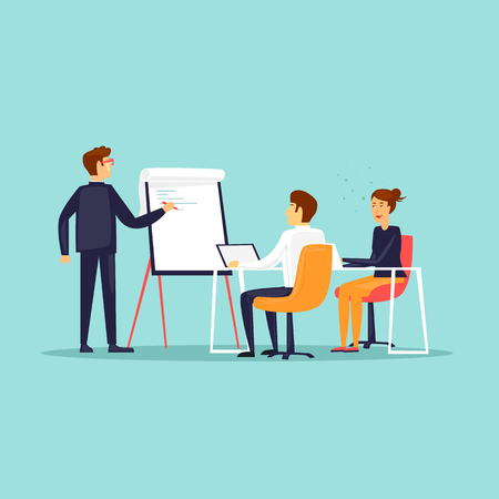 Business training or office meeting flat design vector illustration. Çizim