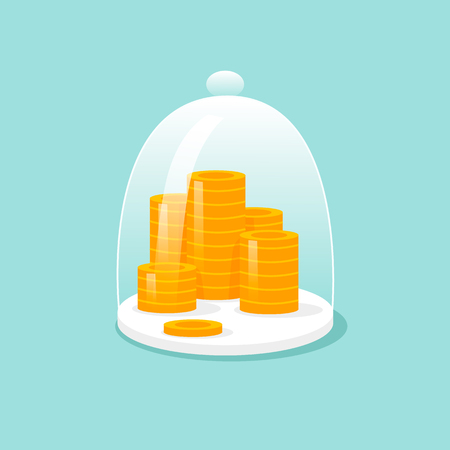 Gold coins inside transparent cover.