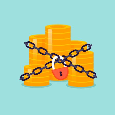 L'argent est emballé dans des chaînes et verrouillé dans une illustration vectorielle design plat.