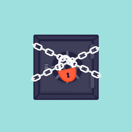 Safe wrapped in chains with lock vector illustration.