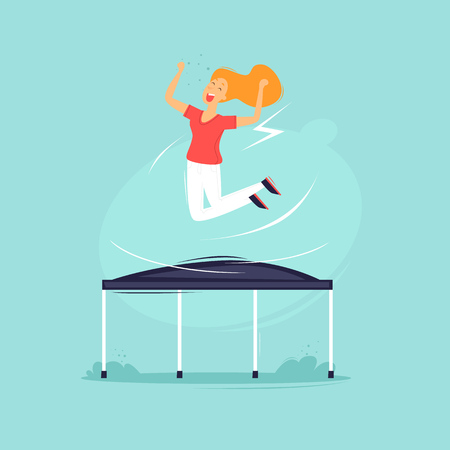 Girl jumping on a trampoline flat design illustration. Çizim