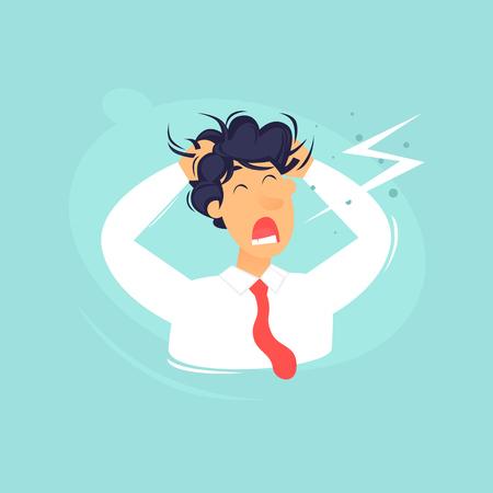Ilustración plana empresario frustrado. Ilustración de vector