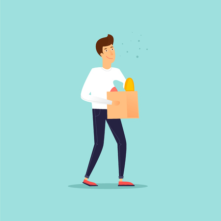Man with a package from a store, shopping flat design  illustration.