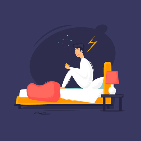 Man  sitting on the bed flat design illustration. Иллюстрация