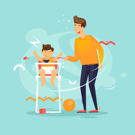 Father feeds a child with a spoon, a family, an infant. Flat design vector illustration.