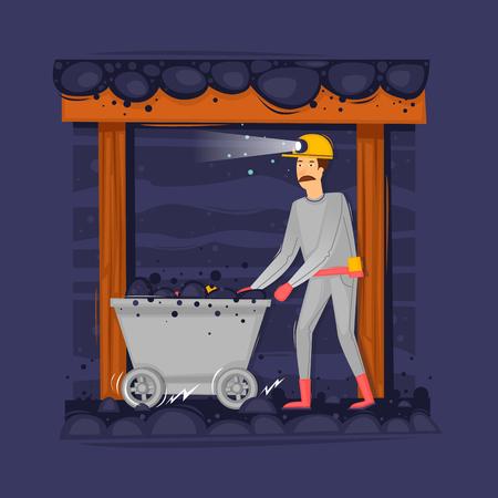 Mijnwerker in de mijn duwt de trolley. Mijnbouw. Platte ontwerp vector illustratie. Vector Illustratie