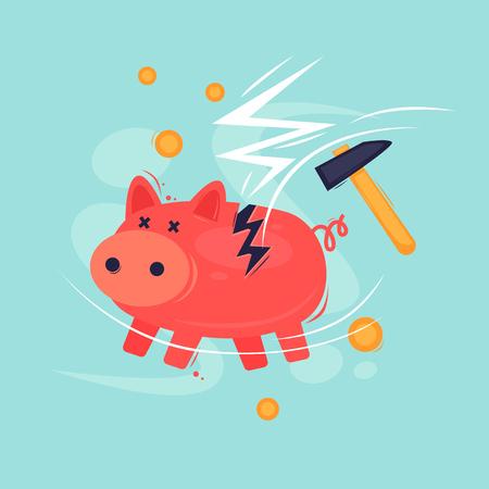 Broken piggy bank. Crisis, bankruptcy. Flat design vector illustration. Illustration