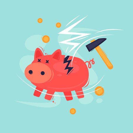Broken piggy bank. Crisis, bankruptcy. Flat design vector illustration.  イラスト・ベクター素材