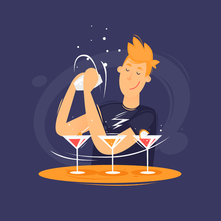 Barman is preparing a cocktail. Flat design vector illustration.