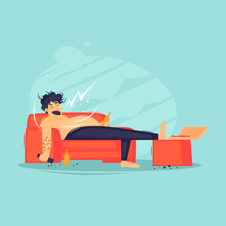 Lazy man lying on the couch watching TV drinking beer. Flat design vector illustration.