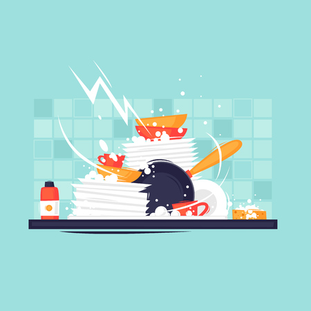 Dirty dishes. Flat design vector illustration.