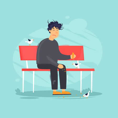 Unemployed sits in a park on a bench feeding birds. Flat design vector illustration.