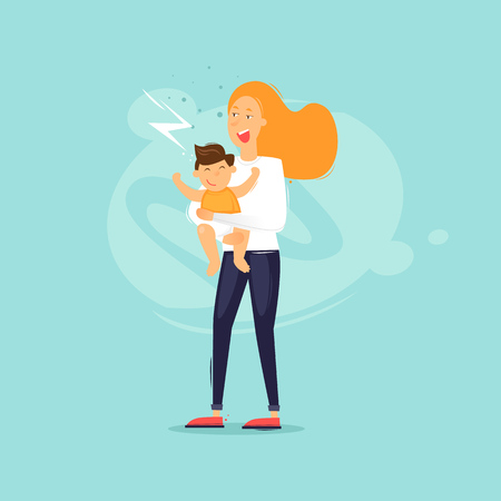 Family life, a woman is holding a child. Flat design vector illustration. Иллюстрация