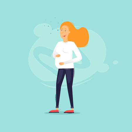 Family life, pregnant woman. Flat design vector illustration. Ilustração