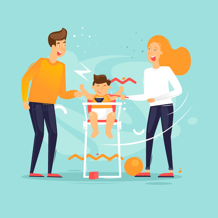 Family life, man woman feeds the child, husband and wife. Flat design vector illustration. Standard-Bild - 102304351