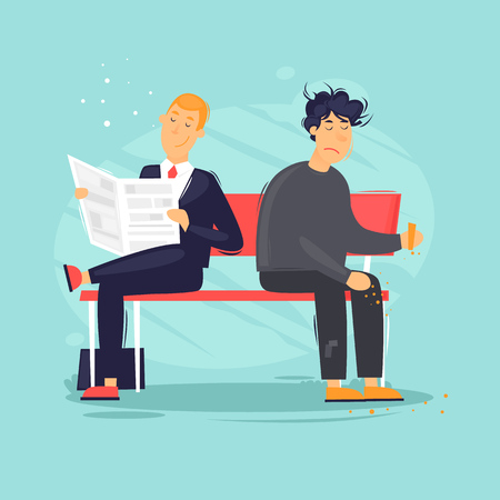 Businessman and unemployed are sitting on a bench. Flat design