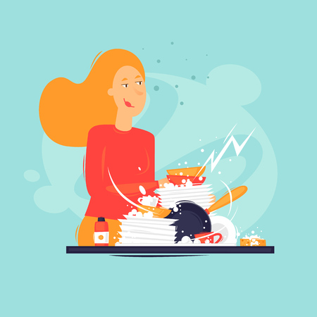 Woman washes dishes, cleanliness, kitchen. Flat design vector illustration.