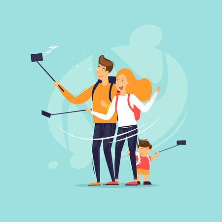 La famiglia fa un selfie durante un viaggio. Illustrazione vettoriale di design piatto. Vettoriali