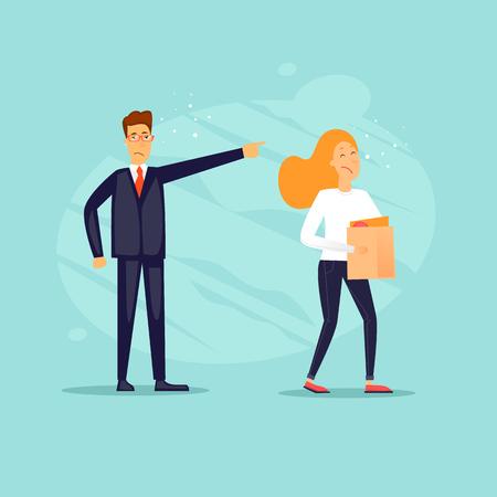 Businessman fired woman. Flat design vector illustration.