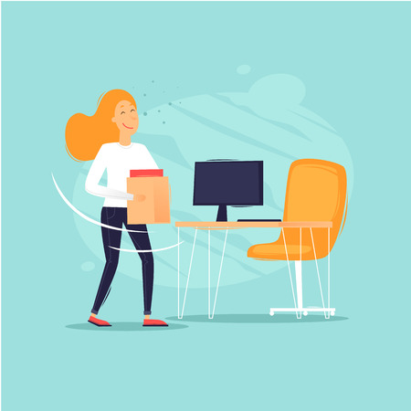 Woman carries a box of documents to the desktop. Flat design vector illustration.